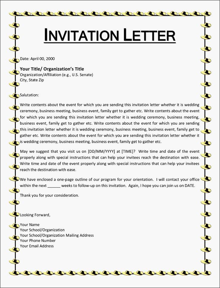 sample formal invitation letter for an event   Invitationsjdi.org