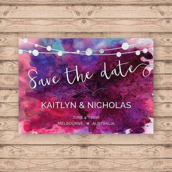 Watercolour Save the Date Card - Print At Home File or Printed Invitations - Watercolor Wedding Save The Date Card
