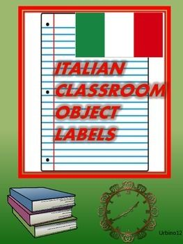 These classroom object labels were created for the Italian classroom. They may be cut out, laminated and taped to/or near the object in your classroom. Extra templates have been included for you to add other classroom object words as needed. The twenty nine words in this file are:la porta, il banco, la cattedra, il calendario, il cestino, il cancellino, la finestra,la lavagna, il muro,lo studente,la studentessa, l'orologio, la penna, il libro, lo scaffale, il quaderno, il gesso, la matita…