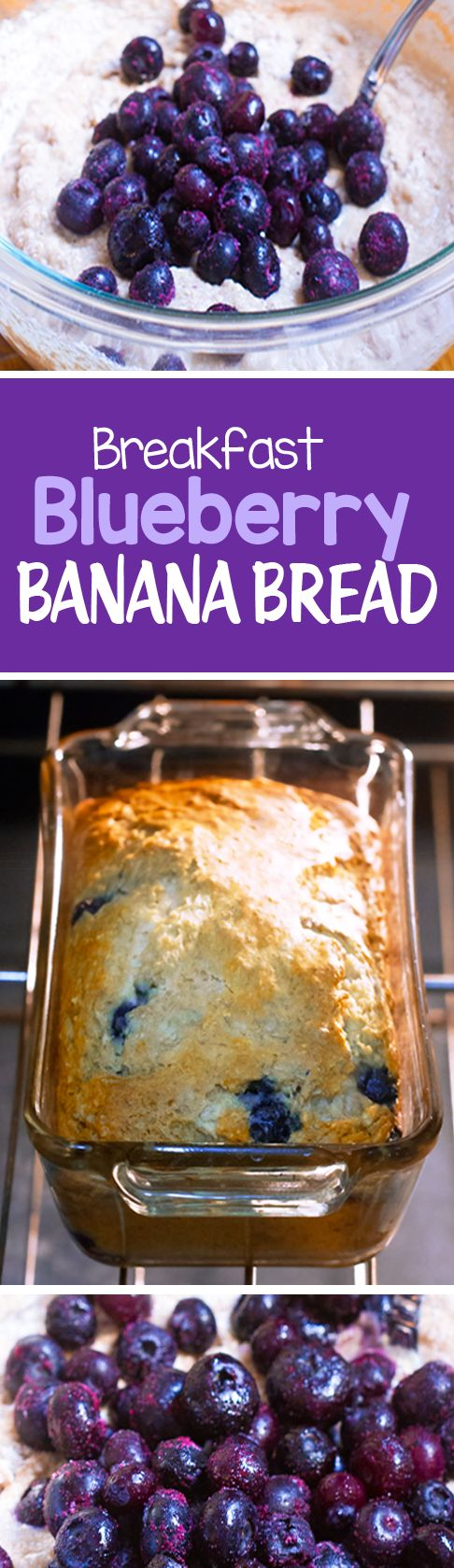 Blueberry Banana Bread, with NO oil, and no refined sugar