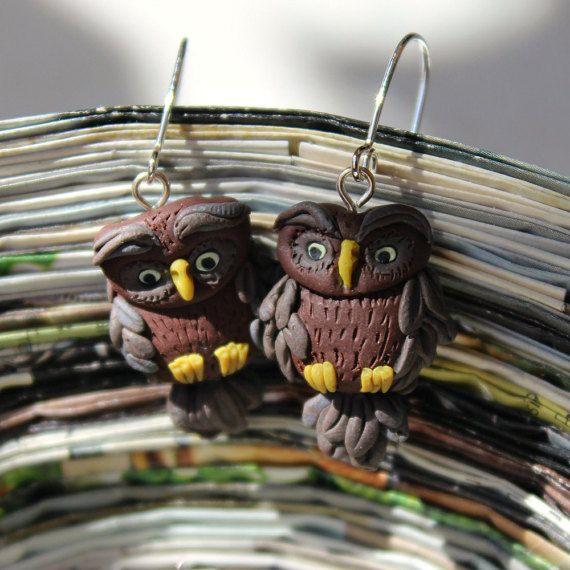Owl  earrings polymer clay earrings hand by HatchingHutDesign
