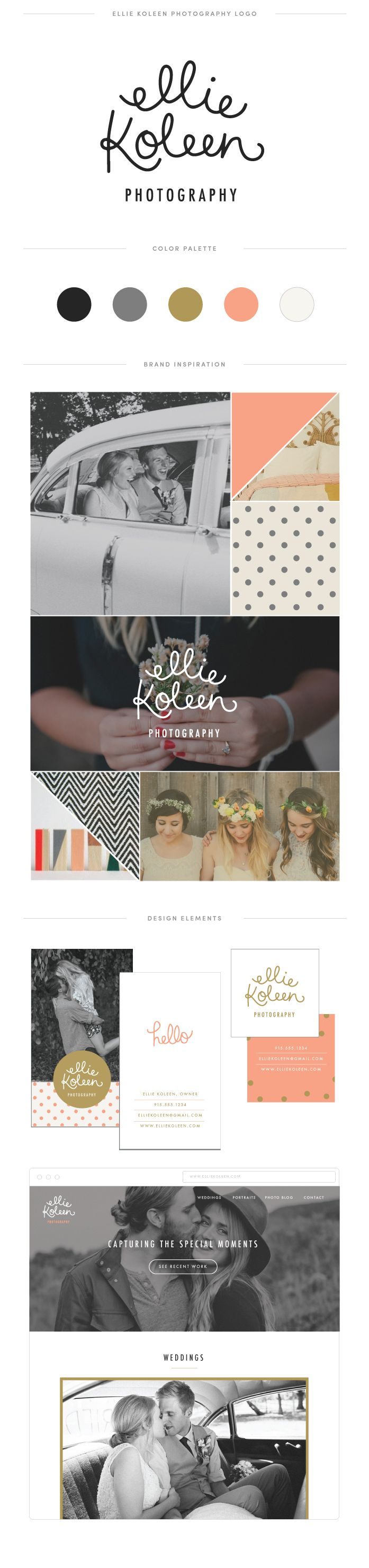 Logo, color palette, inspiration board, and other design ideas for a wedding photographer || June Letters Studio