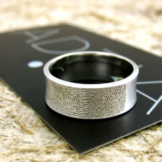 14K White Gold Finger Print Ring or Thumbprint Wedding Band Concave Matte Personalized Customized.