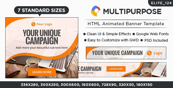 Multi Purpose HTML5 Banners - 7 Sizes - Elite-CC-124