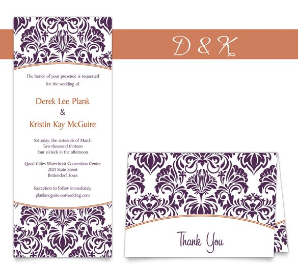 Damask Dream Tea Length Wedding Invitation And Thank You In Eggplant Carrot