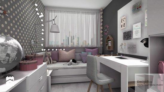 Pokoik Lenki - Mały pokój dziecka dla dziewczynki dla ucznia dla nastolatka, styl nowoczesny - zdjęcie od Designbox Marta Bednarska-Małek