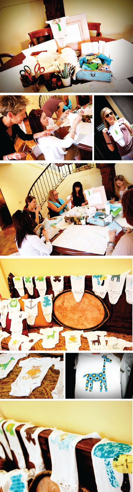 this is the cutest idea ever!  instead of shower games, everyone used cute fabrics, stencils and templates to create their own onesie!