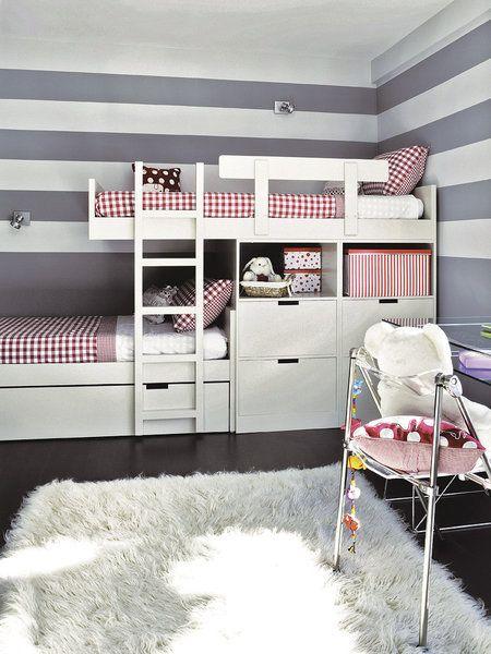 un coqueto dormitorio a rayas mezzanine ado et chambres. Black Bedroom Furniture Sets. Home Design Ideas