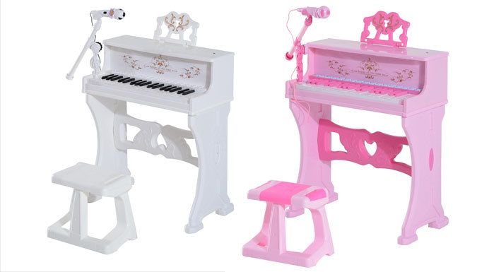 Buy Mini Electronic Piano with Microphone and Stool for just £48.99 Channel your child's inner Mozart with a Mini Electronic Piano with Microphone and Stool      Available in two classic colours - pink or white      Players can learn new songs with the indicator light on the keyboard      Piano has a variety of instruments: piano, organ, violin, flute, guitar, trumpet and more      You can...