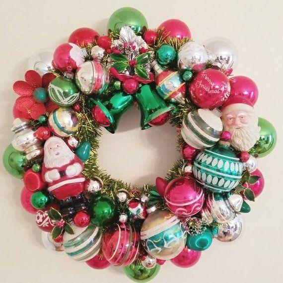 July Sale Vintage Glass Ornament Heirloom Santa Wreath Red And Green Christmas Wreaths Vintage Ornament Wreath Christmas Ornament Wreath