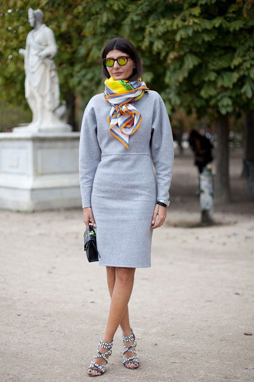 STREET STYLE SPRING 2013: PARIS FASHION WEEK - Giovanna Battaglia tops her look with a bold scarf.