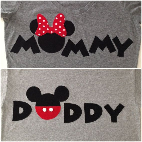 Mommy & Daddy Disney shirts!  https://www.etsy.com/listing/156171522/personalized-mommy-minnie-mouse-daddy