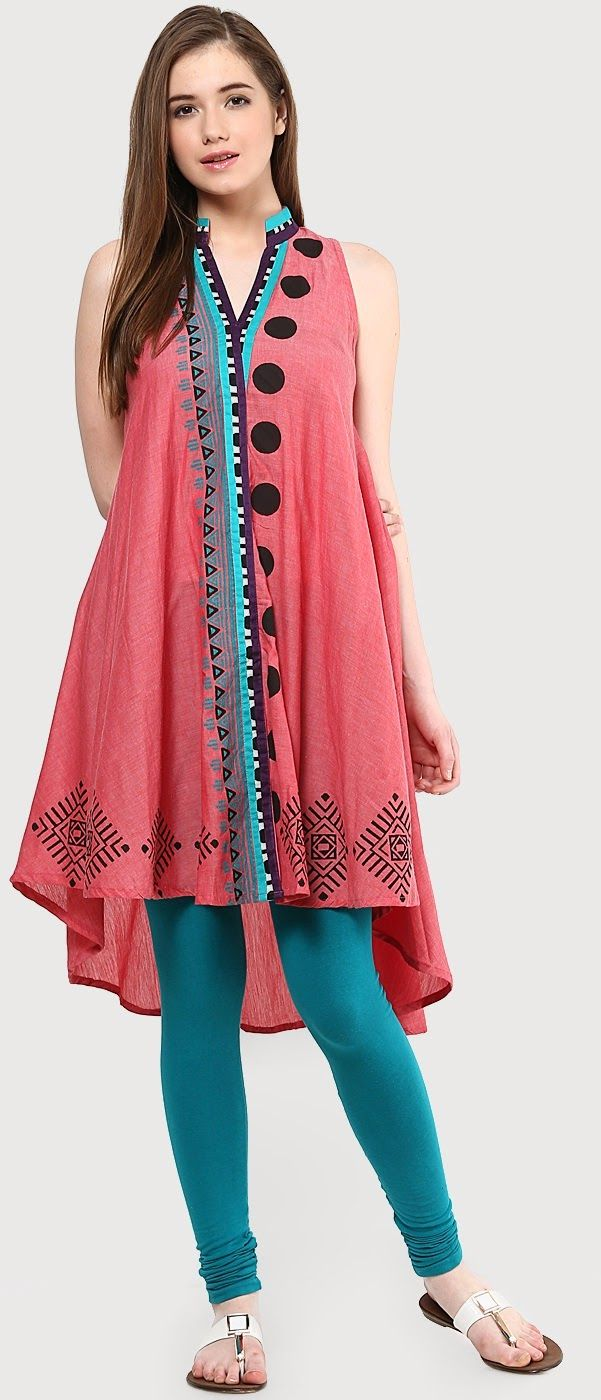 Double your fashion flair wearing this high-low kurti.