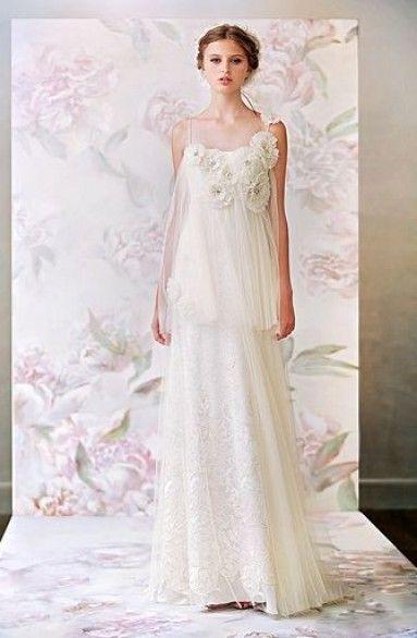 ウェディングドレス エンパイア WEDDING DRESS オーダードレス ストラップ コートトレーン 花嫁ドレス 格安 披露宴 結婚式 二次会 LB2278 価格 ¥45,465