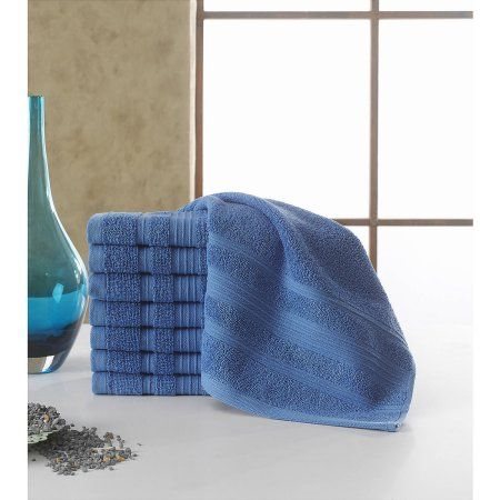 Berrnour Home Solomon Collection 100 Percent Cotton Luxury Hotel and Spa Washcloth, 13 inch x 13 inch, Blue