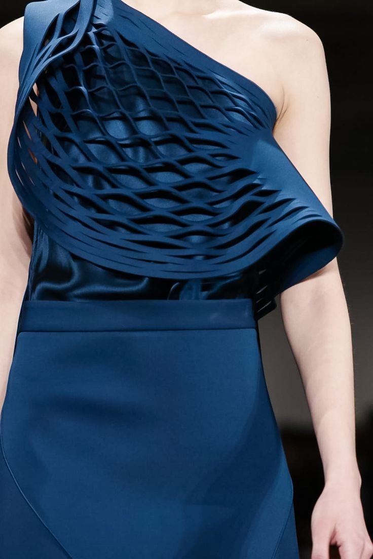 Blue laser cut top with sculptural draping - fabric manipulation; close up fashion design detail // Dion Lee Fall 2015