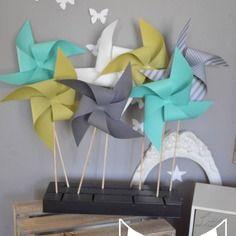 10 moulins à vent turquoise vert anis gris - décoration chambre bébé fille garçon - décoration baptême - décoration mariage -  accessoires photobooth