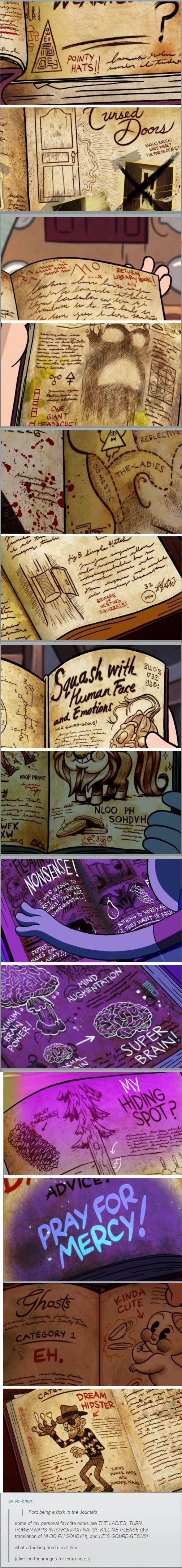 The proof that the author was funny was always on his journals (go to the link and check the aditoinal notes, they are hilarious) #GravityFalls #Ford