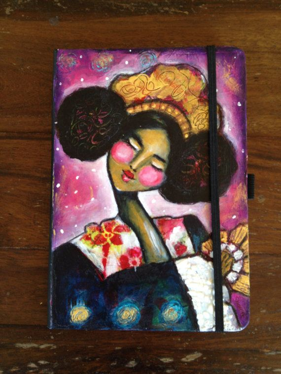 KIMONO QUEEN Hand Painted Journal/Notebook by YellowRoseDBS