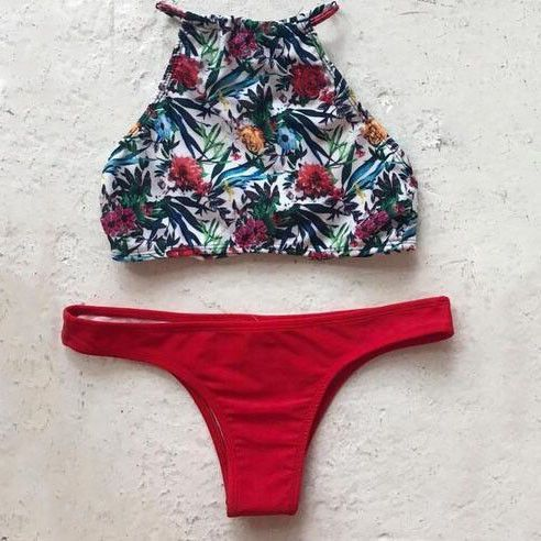 Sexy High Neck Print Halter Bikini