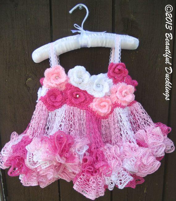 Crochet Baby Tutu Dress Pattern : Rose Fairy Tutu Dress Crochet PATTERN ONLY by ...
