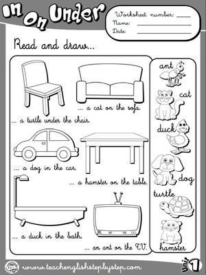 Place Prepositions - Worksheet 3 (B&W version):