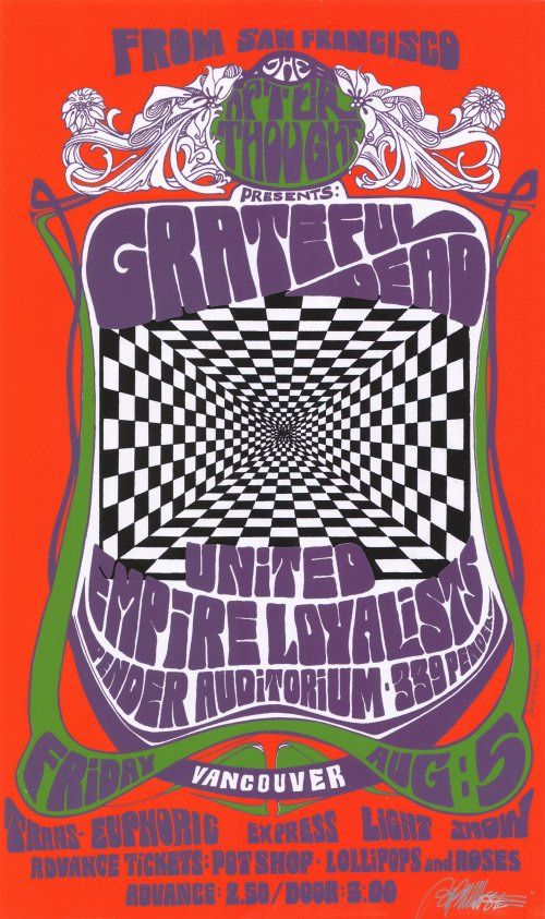 Classic rock concert psychedelic poster - The Grateful Dead