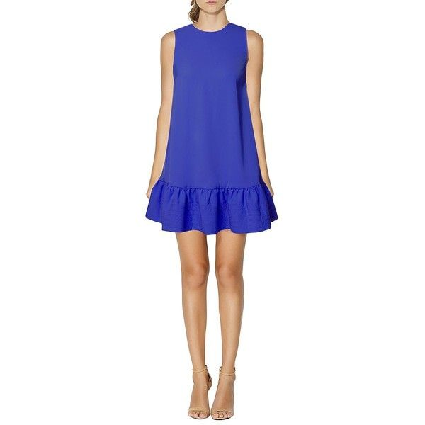 Cynthia Rowley Dropped-Waist Shift Dress ($298) ❤ liked on Polyvore featuring dresses, indigo, blue sleeveless dress, dropwaist dress, drop waist dress, indigo dress and indigo blue dress