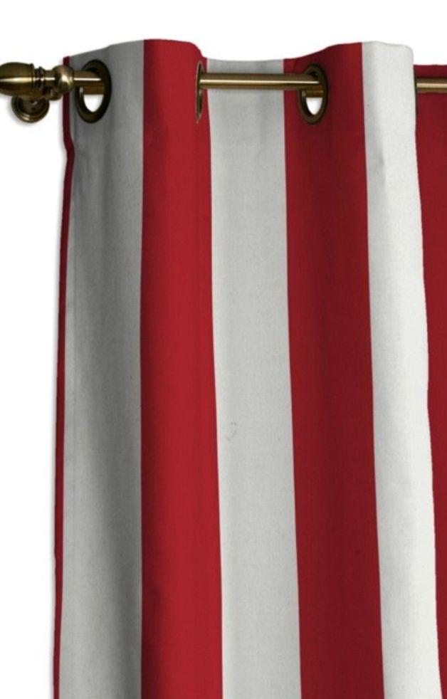 Vorhang - Rot/Weiß gestreift