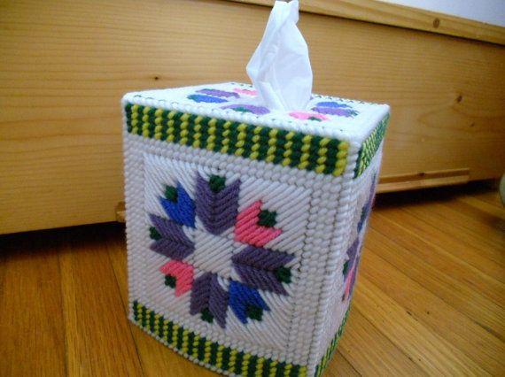 Plastic Canvas Tissue Box Cover  Spring Bouquet by JansCraftShop, $18.00