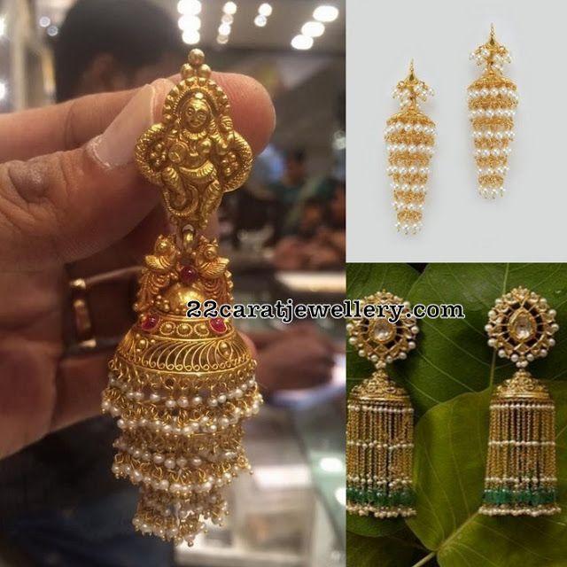 Pearls Tassels Long Hoops - Jewellery Designs
