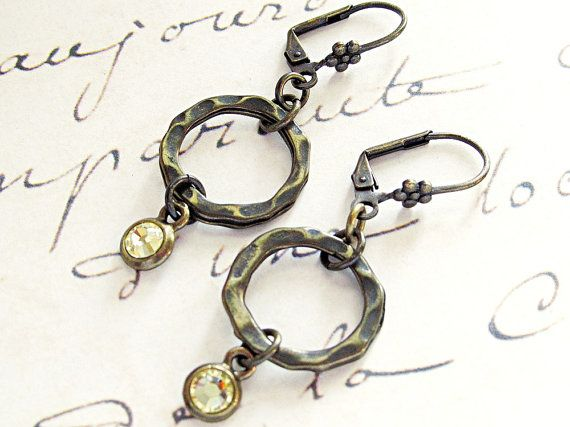 $23  Lovely lemon yellow crystal round hammered circle earrings. Perfect for everyday wear!  www.rachelsjewelrydesigns.com