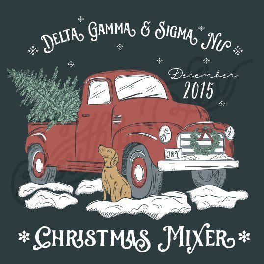 Sorority Social Delta Gamma Christmas Mixer Truck Snow Dog South By Sea