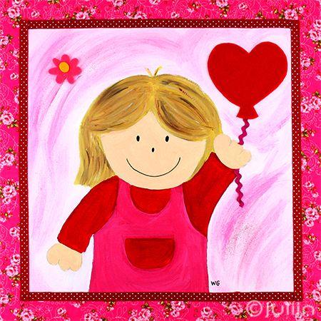 Sanne met de ballon. Schilderij op stofje met bloemetjes. www.julijn.nl