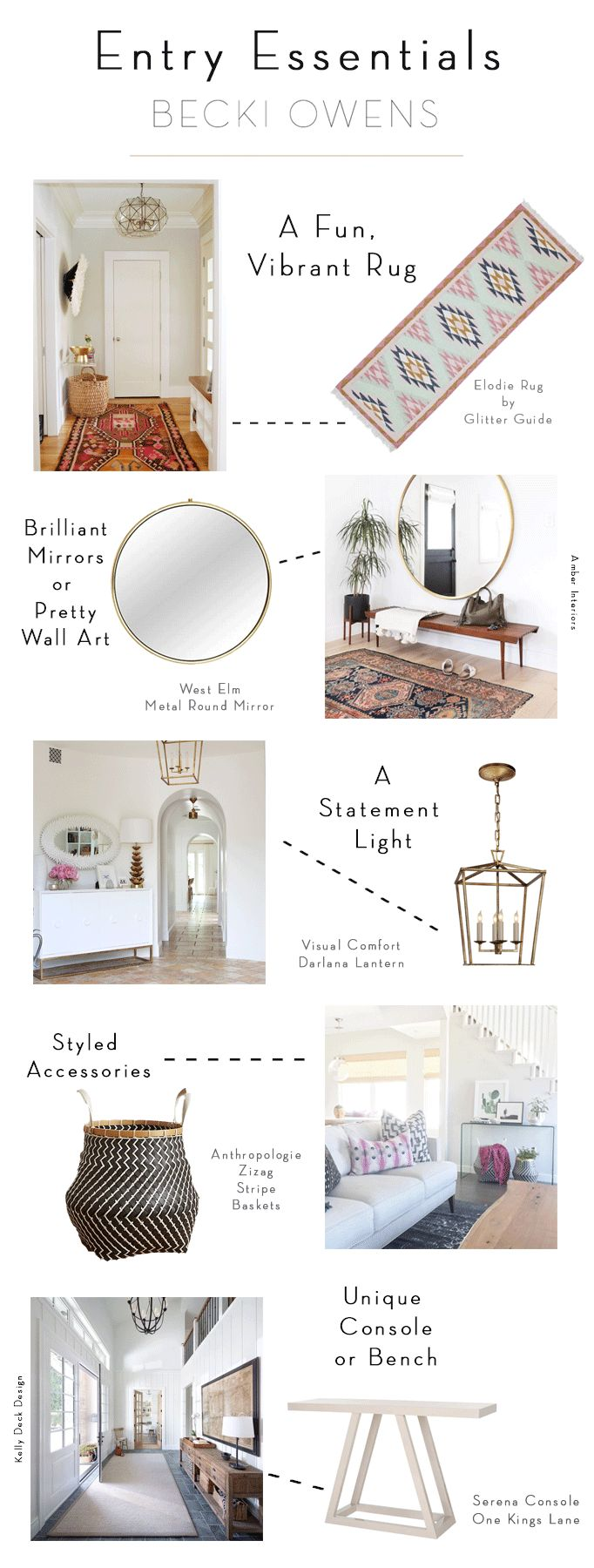 Entries are some of my favorite spaces to design. They are the first impression of the home and sometimes the only space your visitor will see. To make it easy, I've narrowed these elements down to 5 key entry essentials: Rugs, Lighting, Wall Decor, Styling Accessories and a furniture piece.