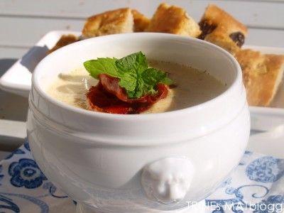 Squashsuppe med sprøstekt spekeskinke