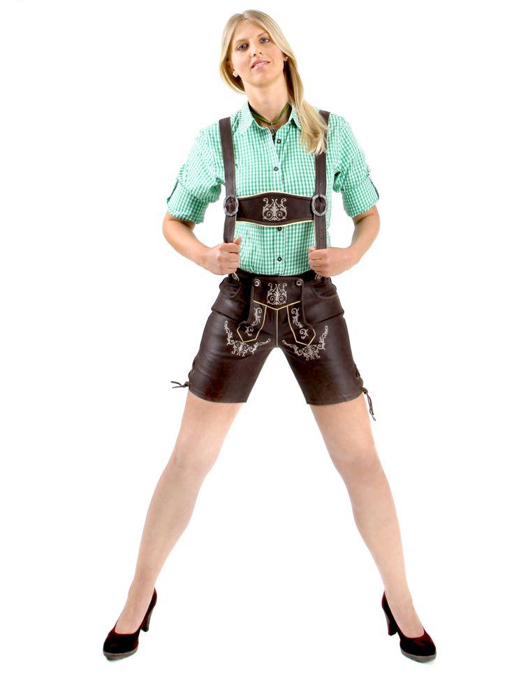 http://www.trachten24.eu/Trachtenlederhose-Babette-dunkelbraun - Trachtenlederhose Babette (dunkelbraun) - Bavarian ladies lederhosen babette nappa (darkbrown)