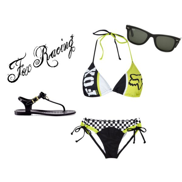 Fox Swimsuit, created by josie-renee on Polyvore.com (awesome! must haaave this Fox Racing swimsuit!!) <3