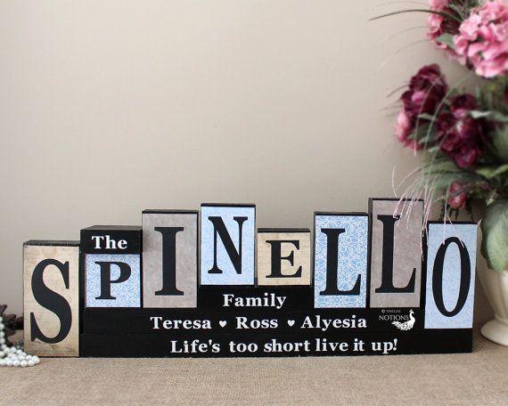Personalised Family Name Letter Blocks, Family Christmas Gift, Custom Name Wooden Mantle Sign, Living Room Decor, 8 Letters Last Name Sign