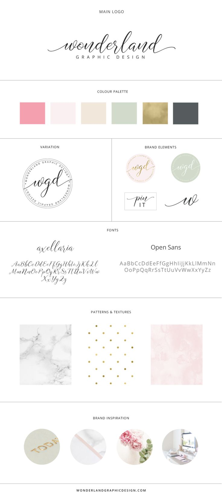 Brand board for Wonderland Graphic Design. Brand style guide including main logo, submark, stamp, branding elements, pin-it button, soft feminine pink neutral and green color palette, script font and sans serif typography, marble, watercolor and polka dot patterns. Branding, female entrepreneurs, girlbosses, workspace pretty desk, small business owners & bloggers.