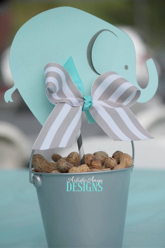 Exceptional Elephant Centerpiece Toppers   Baby Shower Centerpieces (Set Of 4)   Gray  And Turquoise