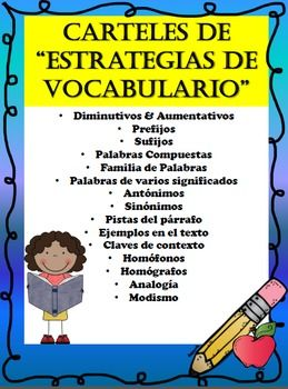 ***UPDATED with different font***This product is completely in SPANISH and contains anchor charts/posters in regards to ALL the SPANISH Vocabulary Strategies in any given text.  These posters can be used as a guide to help students remember all the vocabulary strategies.