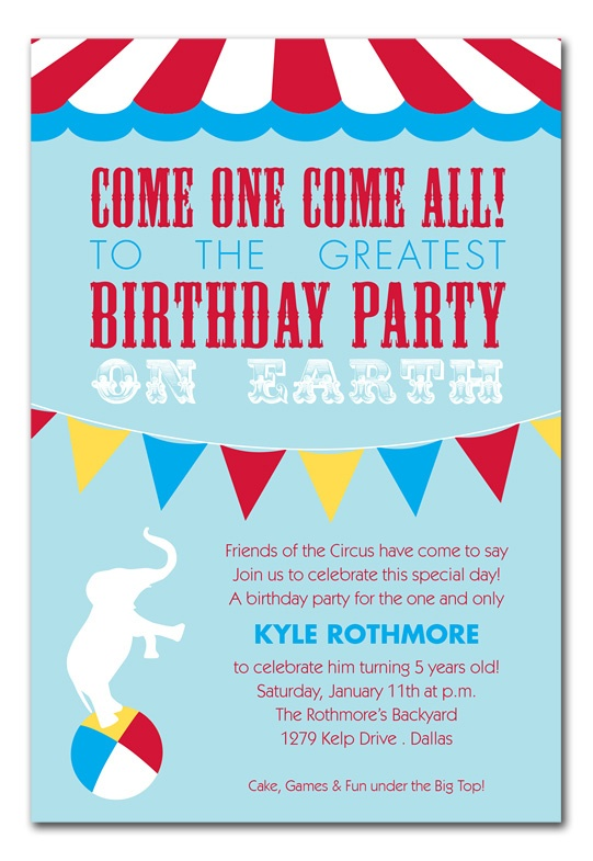 Circus Invite Wording  Kids Parties    Circus Party
