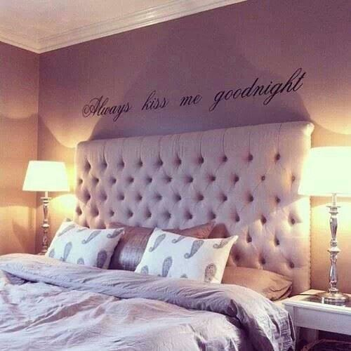 """Bedroom Wall Tiles Lavender Colour Bedroom Art For The Bedroom Ceiling Lights For Girl Bedroom: """"Always Kiss Me Goodnight"""" Decal Above Master Bedroom Bed"""