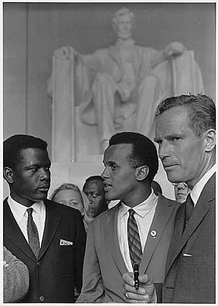 Sidney Poitier, Harry Belafonte, and Charlton Heston at the 1963 Civil Rights March on Washington