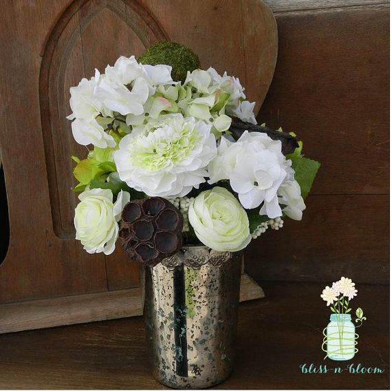 Hydrangea and mercury glass centerpiece wedding by