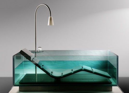 How to be comfortable while taking a bath: Hoesch Water Chaise LoungeChai Lounges, Lounges Chairs, Chaise Lounges, Bathtubs, Water Lounges, Interiors Design, Bottle Longue, Bathroom, Summer Night