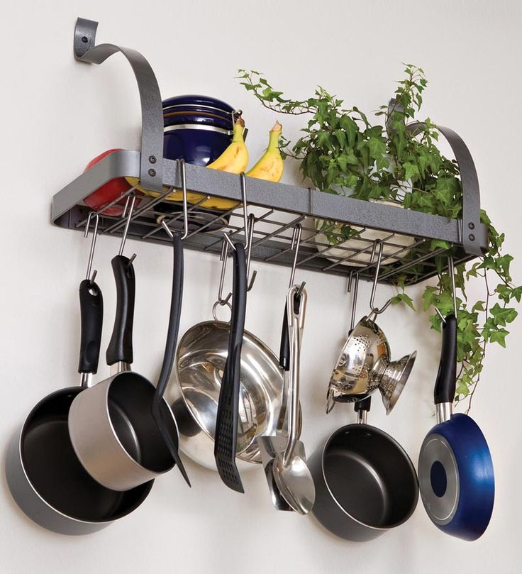$99.95 Powder-Coated Hammered Steel Kitchen Bookshelf Pot Rack