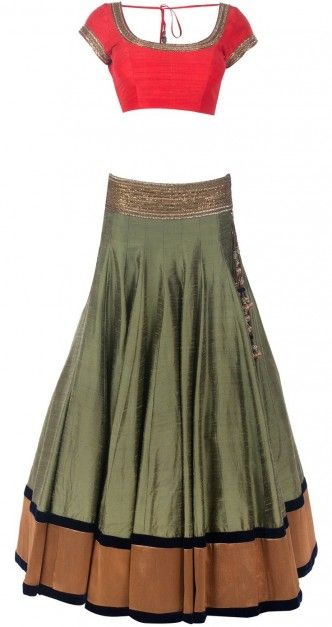 Olive green raw silk lehenga with with orange choli by Manish Malhotra