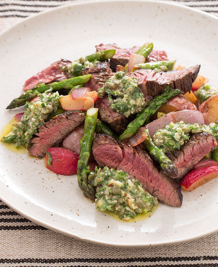 With other spring vegetables like radish and asparagus, juicy slices of sirloin and an Italian salsa verde, this is a new, gourmet spin on one of our favorite meals.
